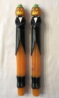 "Vintage Halloween Jack-O-Lantern Tuxedo Men Set Of 2 Taper Candlesticks 10"""