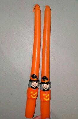 Vintage Halloween Orange Witch Candles Orange Witch Candle Sticks Set of 2