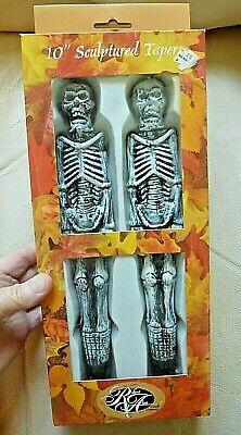 Vintage Halloween SKELETON CANDLES Tapers Candlesticks