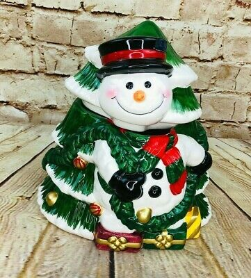 Vintage Hand Painted Snowman Cookie Jar Christmas Tree Holiday Festive Kitchen