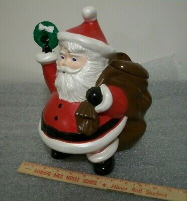 "VINTAGE HANDCRAFTED CERAMIC CHRISTMAS SANTA CLAUS COOKIE CANDY JAR 12"" TALL"