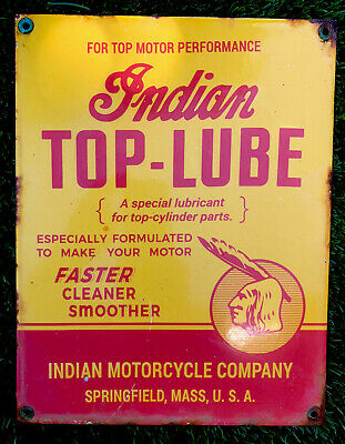 Vintage Indian Motorcycle Top Lube Porcelain Sign Gas & Oil Harley HD