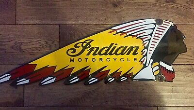 "VINTAGE ""INDIAN MOTORCYCLES"" GAS & OIL PLATE HEAVY PORCELAIN SIGN 24 INCH"