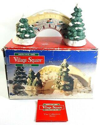 Vintage Mervyns 1993 Village Square Ceramic Bridge Christmas Snow Village Decor