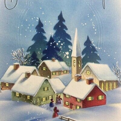 Vintage Mid Century Christmas Greeting Card Snowy Night Sky Over Village Houses