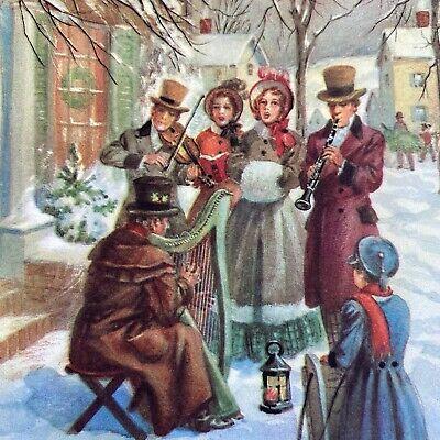 Vintage Mid Century Christmas Greeting Card Village Carolers On A Snowy Street