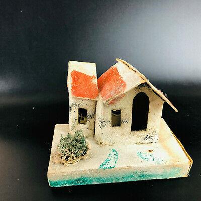 "Vintage putz House 5"" x 3.5"" Made In Japan Christmas village decor glitter MCM"