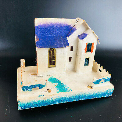 """Vintage putz House 6.5"""" x 5"""" Made In Japan Christmas village decor MICA GLITTER"""