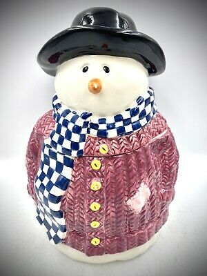 Vintage Snowman Christmas Ceramic Frosty Cookie Jar 1999 By Laurie Korsgaden