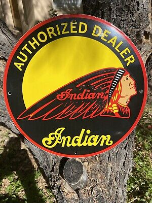 "VINTAGE stlye ""INDIAN"" GAS & OIL PLATE HEAVY PORCELAIN SIGN 12 INCH"