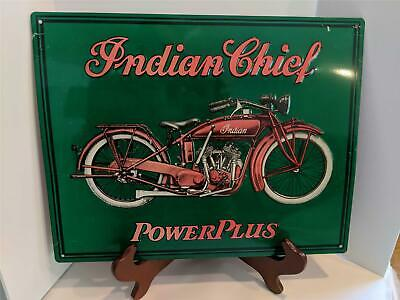 "VINTAGE TIN ADVERTISING SIGN - INDIAN CHIEF POWERPLUS MOTORCYCLE 10""X14"""