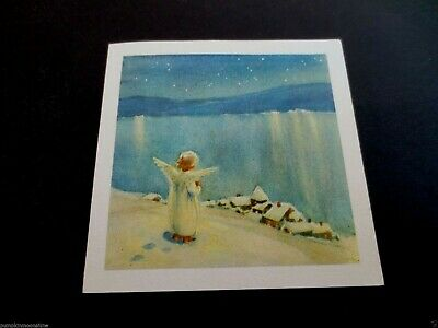 Vintage Unused Erica Von Kager Xmas Greeting Card Angel Looking over Village