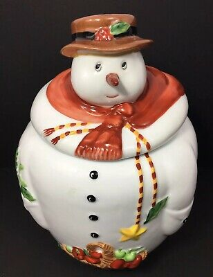 Vintage Villeroy and Boch 1980 Christmas Snowman Cookie Jar Retired Holiday