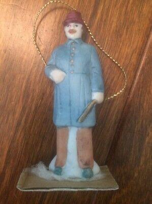 "Vtg 3"" Ceramic Christmas Village Tree Ornament Hobby Train Conductor Police Man"