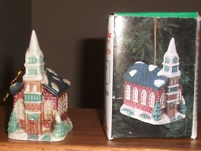 VTG Badcock Xmas Holiday Village Church Square Collection Porcelain Ornament NEW