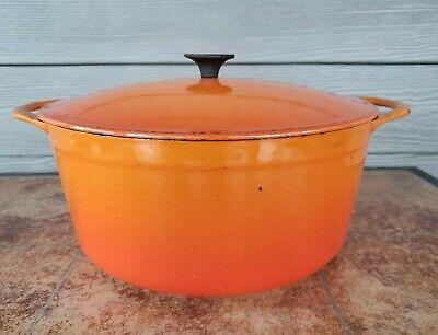 Vtg COUSSANCES(LE CREUSET) No 26 5.5 Quart Round DUTCH Oven Flame Orange Great