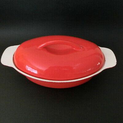 VTG Czechoslovakia Cast Iron Enamel Casserole Dutch Oven Oval Orange Czech Pot