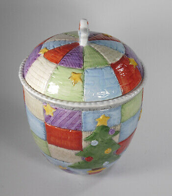VTG Hand Painted Quilt Cookie Jar Treats/Snacks Canister Christmas Holiday