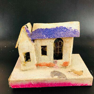 "Vtg putz House 4.75"" x 3.5"" Made In Japan Christmas village decor glitter MCM"