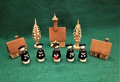Vtg. Wooden Christmas Set - Austrian Village - Church,Houses, Carolers, Trees