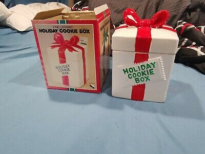 Woolworth Fine Ceramic Holiday Cookie Box Vintage Christmas Cookie Jar RED BOW