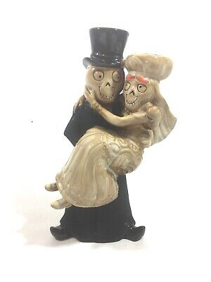 Yankee Candle 2011 Boney Bunch Skeleton Wedding Man Wife Candle Stick Holder