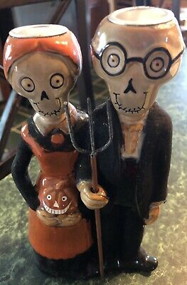 Yankee Candle Boney Bunch Gothic Farmer & Wife Halloween Candlestick Holder
