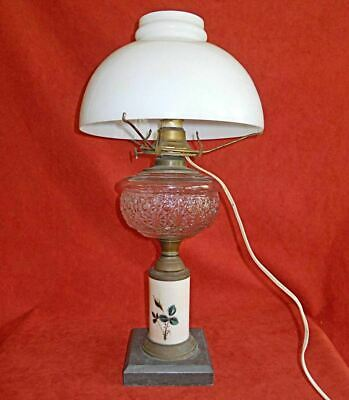 Antique Oil Electric Lamp Cut Glass Slate Rose Buds Pillar Glass Shade Victorian