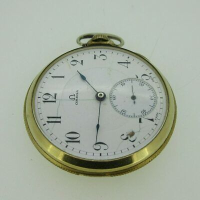 Antique Omega Watch Co. Swiss 17J 10s 10k Rolled Gold Plated Pocket Watch Parts
