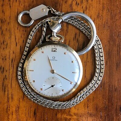 Art Deco Vintage Omega 14k Gold Open Face Pocket Watch For Men