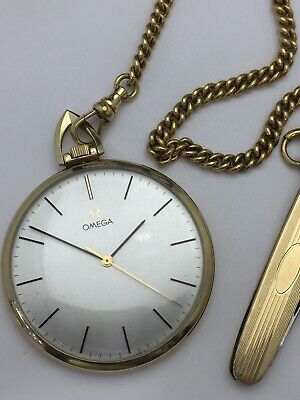 Vintage Omega 10K Gold Filled Manual Wind-Up Pocket Watch With Chain And Knife.