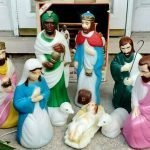 lighted blow mold nativity set