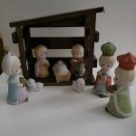 porcelain nativity set with stable