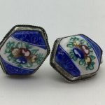 porcelain earrings blue white